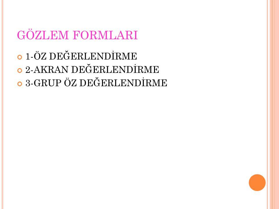 GÖZLEM FORMLARI 1-ÖZ DEĞERLENDİRME 2-AKRAN DEĞERLENDİRME 3-GRUP ÖZ DEĞERLENDİRME