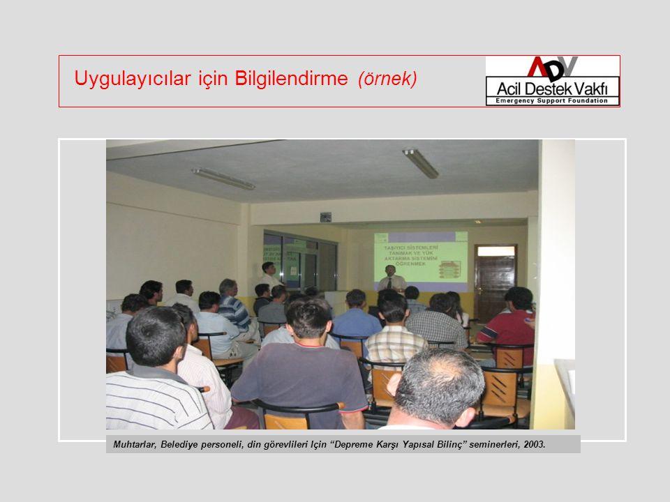 Uygulayıcılar için Bilgilendirme (örnek) Muhtarlar, Belediye personeli, din görevlileri Için Depreme Karşı Yapısal Bilinç seminerleri, 2003.