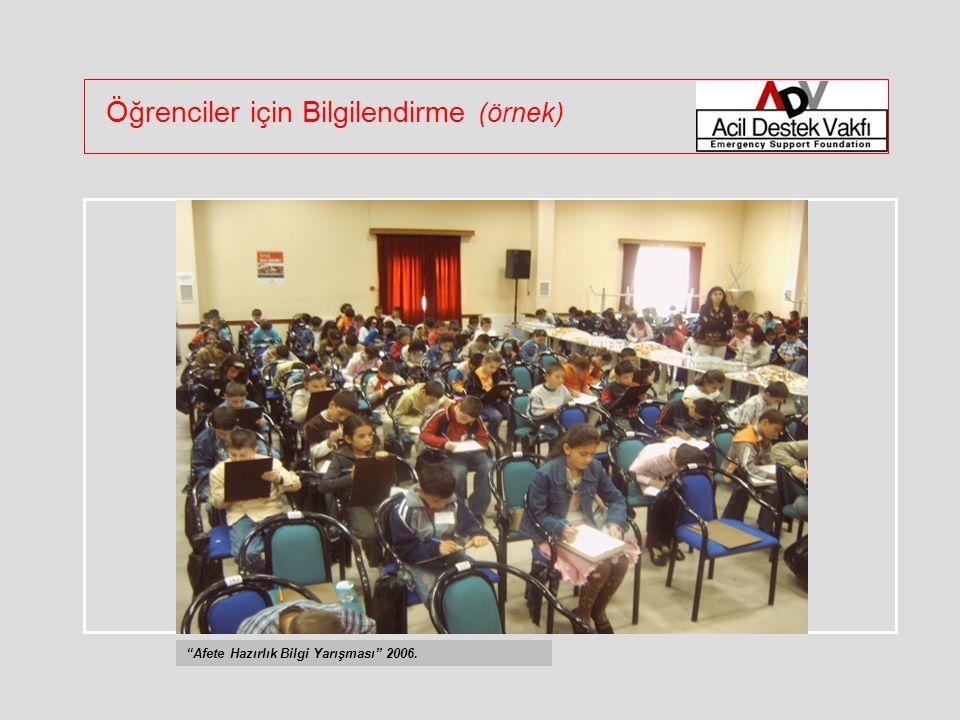 Öğrenciler için Bilgilendirme (örnek) Afete Hazırlık Bilgi Yarışması 2006.