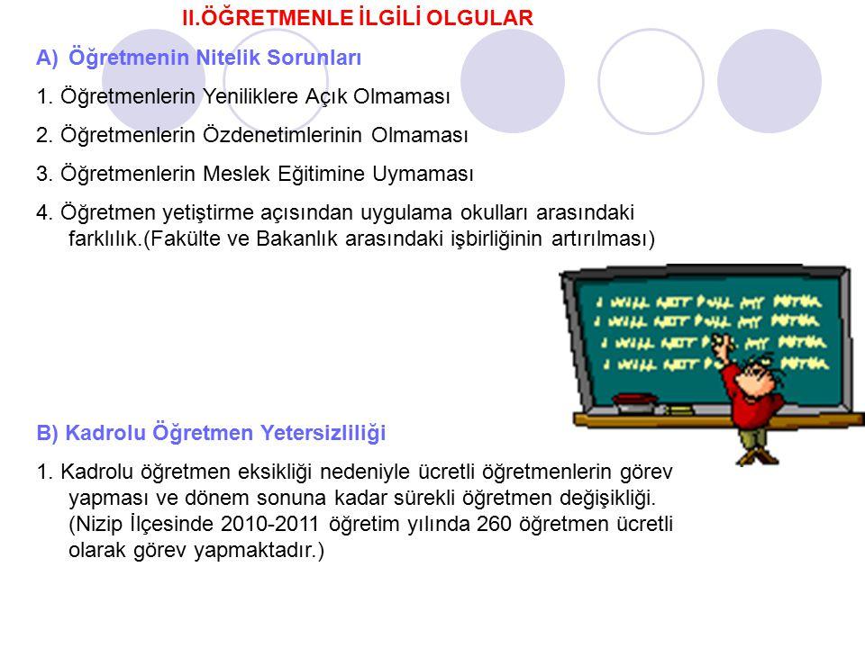 II.ÖĞRETMENLE İLGİLİ OLGULAR A)Öğretmenin Nitelik Sorunları 1. Öğretmenlerin Yeniliklere Açık Olmaması 2. Öğretmenlerin Özdenetimlerinin Olmaması 3. Ö