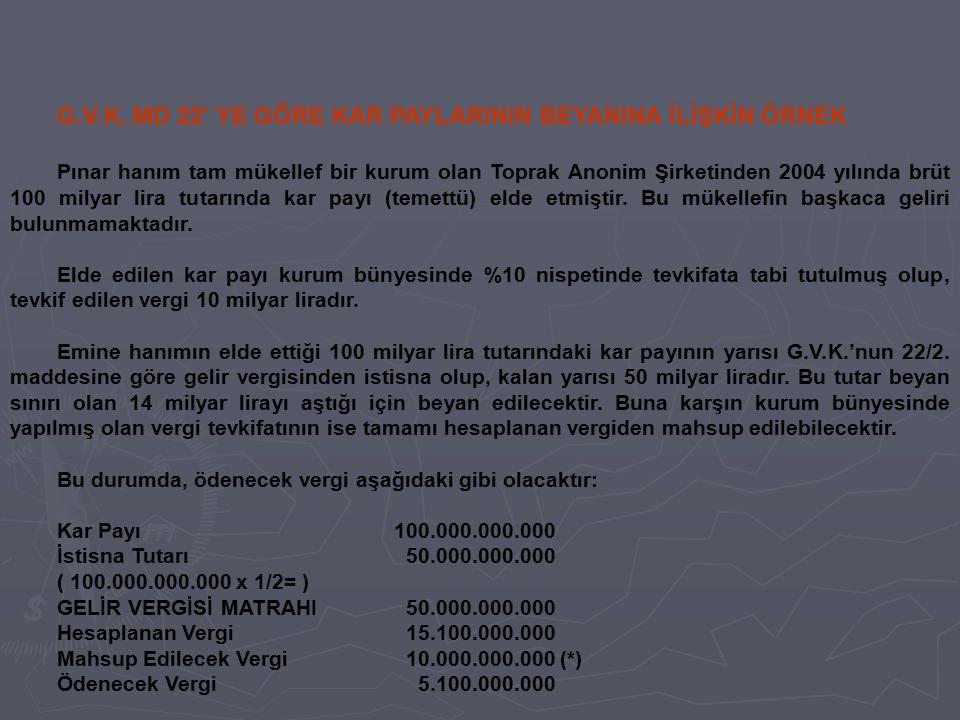 G.V.K. MD 22' YE GÖRE KAR PAYLARININ BEYANINA İLİŞKİN ÖRNEK Pınar hanım tam mükellef bir kurum olan Toprak Anonim Şirketinden 2004 yılında brüt 100 mi