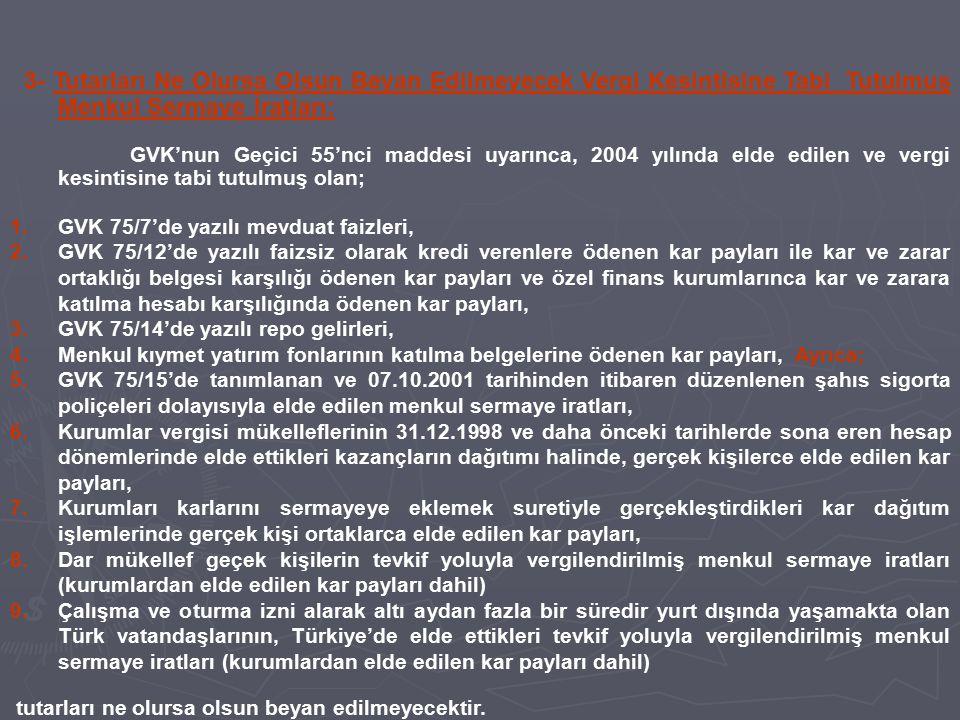 3- Tutarları Ne Olursa Olsun Beyan Edilmeyecek Vergi Kesintisine Tabi Tutulmuş Menkul Sermaye İratları: GVK'nun Geçici 55'nci maddesi uyarınca, 2004 y