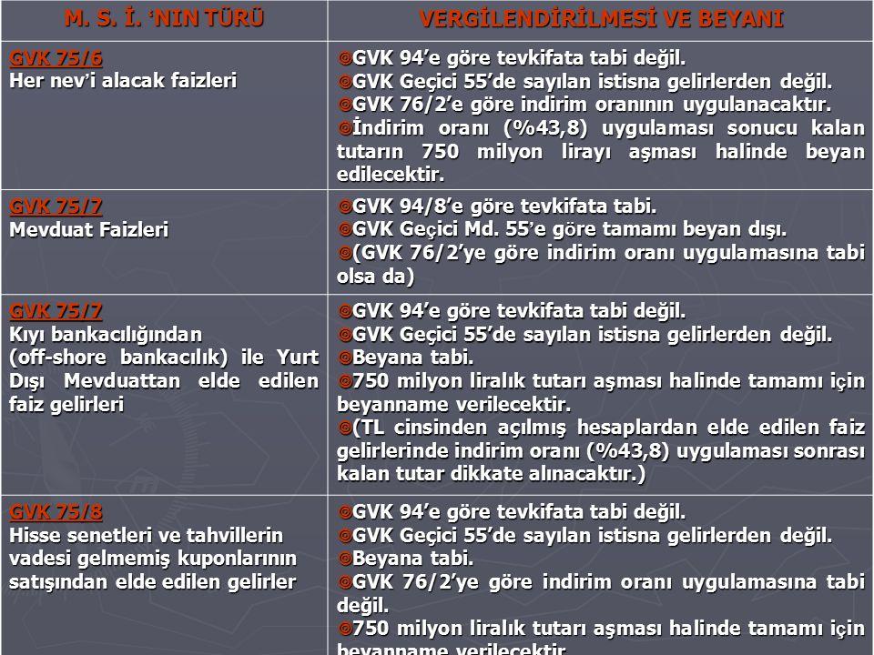 M. S. İ. ' NIN T Ü R Ü VERGİLENDİRİLMESİ VE BEYANI GVK 75/6 Her nev ' i alacak faizleri  GVK 94'e göre tevkifata tabi değil.  GVK Geçici 55'de sayıl