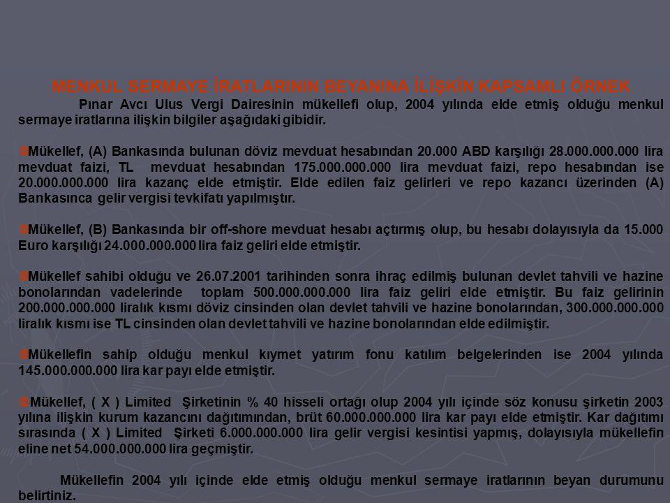 MENKUL SERMAYE İRATLARININ BEYANINA İLİŞKİN KAPSAMLI ÖRNEK Pınar Avcı Ulus Vergi Dairesinin mükellefi olup, 2004 yılında elde etmiş olduğu menkul serm