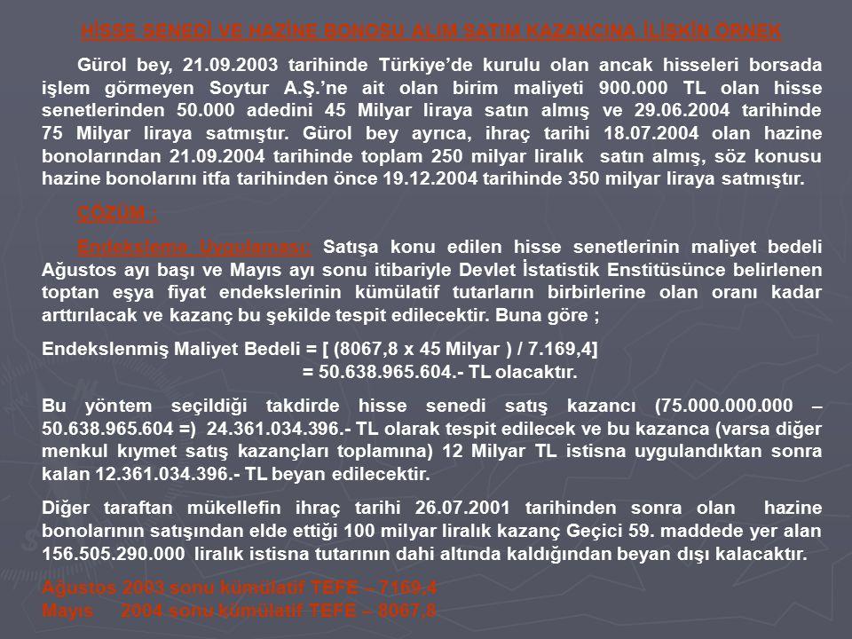 HİSSE SENEDİ VE HAZİNE BONOSU ALIM SATIM KAZANCINA İLİŞKİN ÖRNEK Gürol bey, 21.09.2003 tarihinde Türkiye'de kurulu olan ancak hisseleri borsada işlem