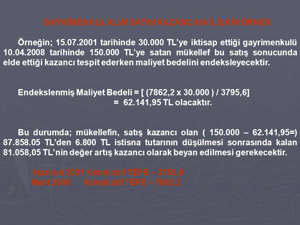 GAYRİMENKUL ALIM SATIM KAZANCINA İLİŞKİN ÖRNEK Örneğin; 15.07.2001 tarihinde 30.000 TL'ye iktisap ettiği gayrimenkulü 10.04.2008 tarihinde 150.000 TL'