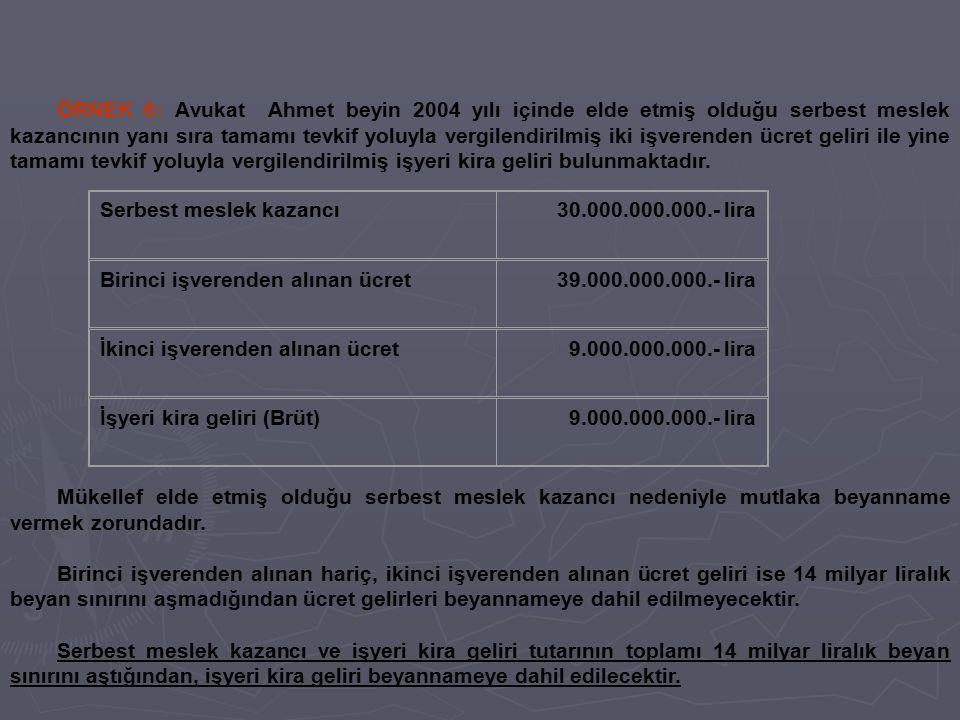 ÖRNEK 6: Avukat Ahmet beyin 2004 yılı içinde elde etmiş olduğu serbest meslek kazancının yanı sıra tamamı tevkif yoluyla vergilendirilmiş iki işverend