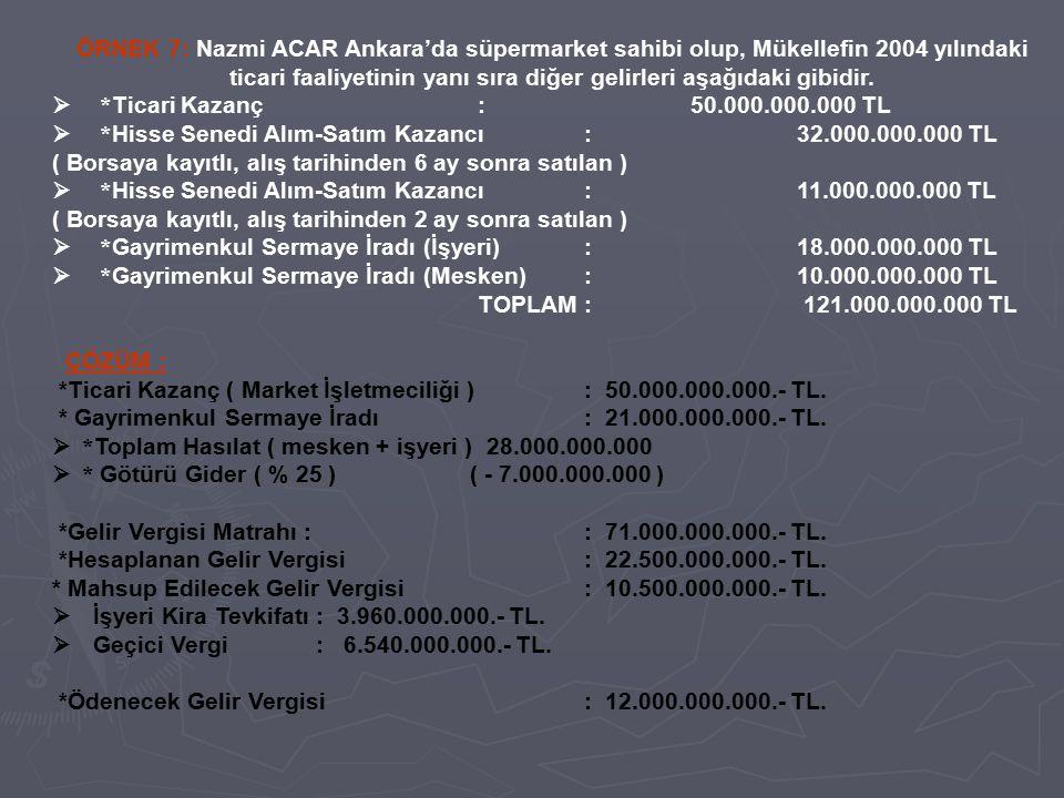 ÖRNEK 7: Nazmi ACAR Ankara'da süpermarket sahibi olup, Mükellefin 2004 yılındaki ticari faaliyetinin yanı sıra diğer gelirleri aşağıdaki gibidir.  *