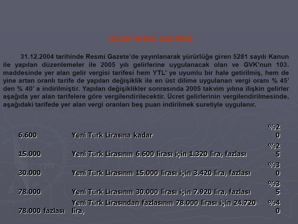 GELİR VERGİ TARİFESİ 31.12.2004 tarihinde Resmi Gazete'de yayınlanarak yürürlüğe giren 5281 sayılı Kanun ile yapılan düzenlemeler ile 2005 yılı gelirl