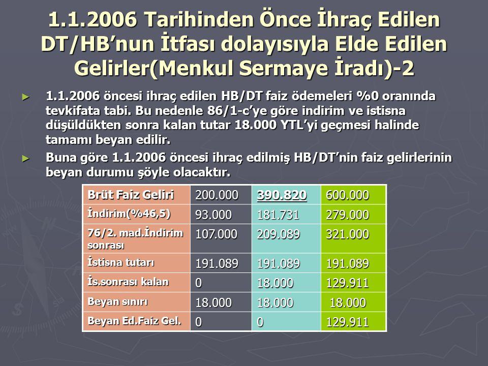 1.1.2006 Tarihinden Önce İhraç Edilen DT/HB'nun İtfası dolayısıyla Elde Edilen Gelirler(Menkul Sermaye İradı)-2 ► 1.1.2006 öncesi ihraç edilen HB/DT f