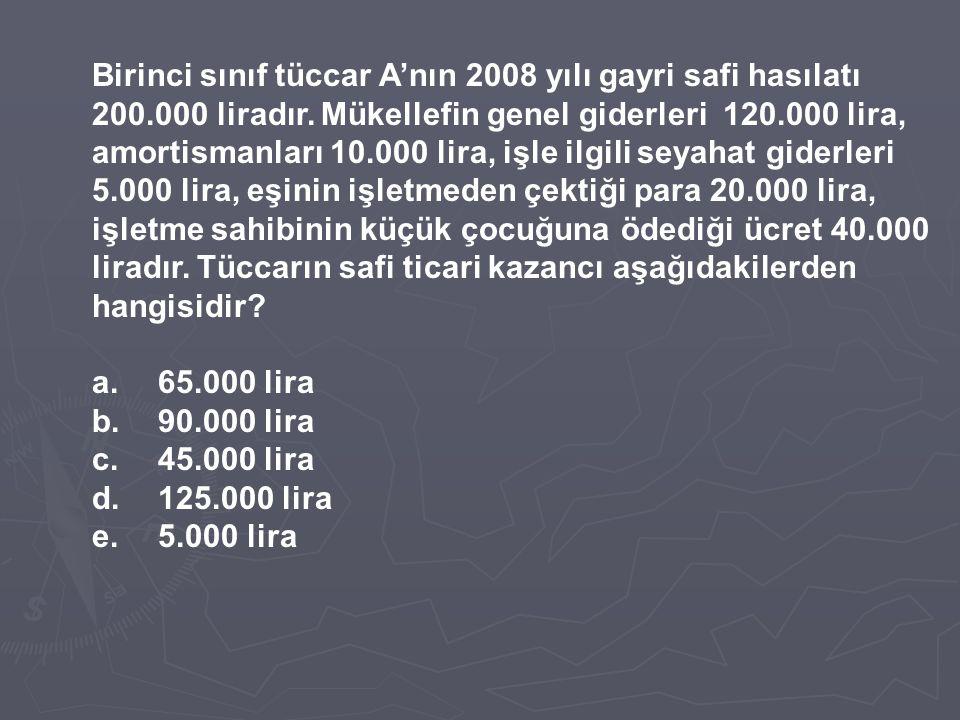 Birinci sınıf tüccar A'nın 2008 yılı gayri safi hasılatı 200.000 liradır. Mükellefin genel giderleri 120.000 lira, amortismanları 10.000 lira, işle il