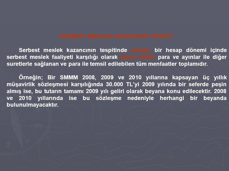 SERBEST MESLEK KAZANCININ TESPİTİ Serbest meslek kazancının tespitinde hasılat; bir hesap dönemi içinde serbest meslek faaliyeti karşılığı olarak tahs