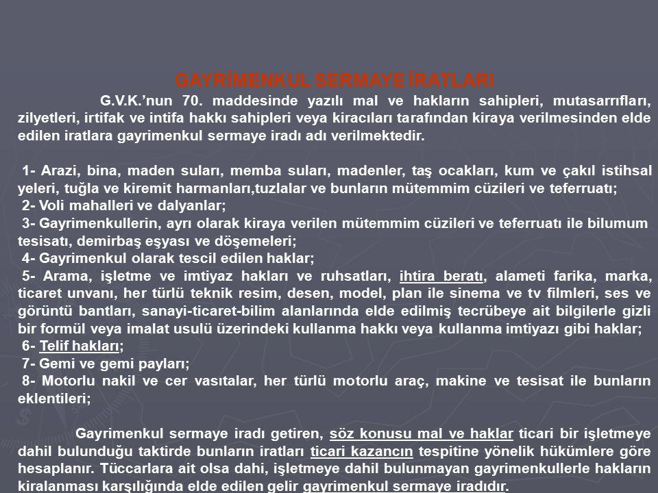GAYRİMENKUL SERMAYE İRATLARI G.V.K.'nun 70. maddesinde yazılı mal ve hakların sahipleri, mutasarrıfları, zilyetleri, irtifak ve intifa hakkı sahipleri