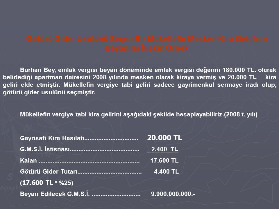 Burhan Bey, emlak vergisi beyan döneminde emlak vergisi değerini 180.000 TL. olarak belirlediği apartman dairesini 2008 yılında mesken olarak kiraya v