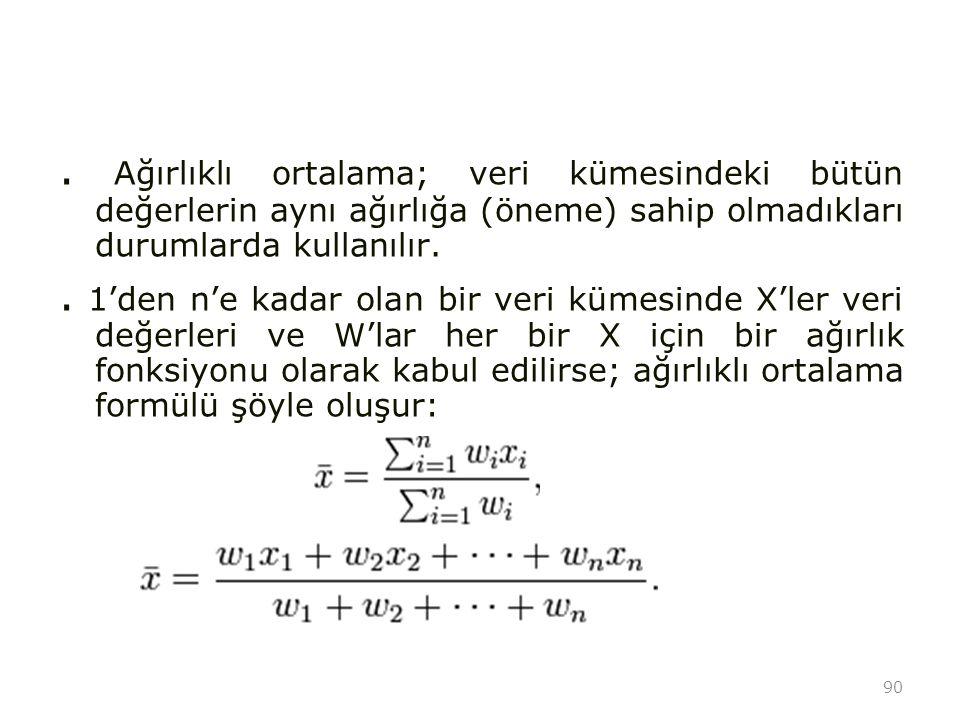 90. Ağırlıklı ortalama; veri kümesindeki bütün değerlerin aynı ağırlığa (öneme) sahip olmadıkları durumlarda kullanılır.. 1'den n'e kadar olan bir ver