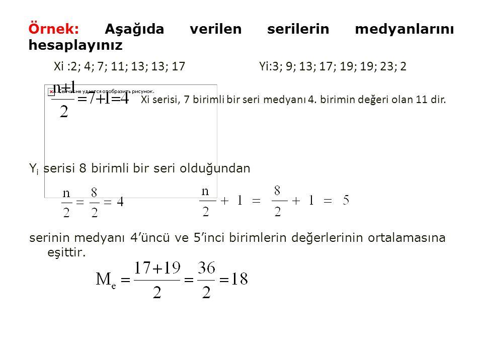 Örnek: Aşağıda verilen serilerin medyanlarını hesaplayınız Y i serisi 8 birimli bir seri olduğundan serinin medyanı 4'üncü ve 5'inci birimlerin değerlerinin ortalamasına eşittir.