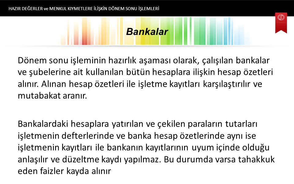 Bankalar Bankalar Hesabı işletmelerin yurt içi ve yurt dışında banka ve benzeri finans kurumlarında açtırılan hesaplarına yatırılan ve hesaptan çekile