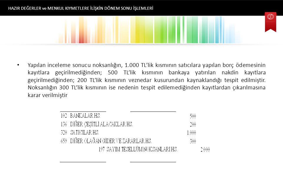 Bir işletmenin dönem sonunda TL Kasası Hesabının bakiyesi, 10.000 TL'dir.Yapılan envanter çalışması sonrasında (fiziki sayım) kasada 8.000 TL nakit mevcudu olduğu tespit edilmiştir.2.000 lira noksan aşağıdaki gibi kayda alınır.