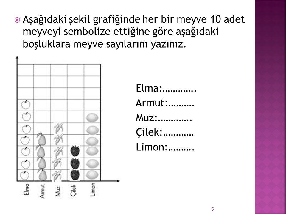  Aşağıdaki şekil grafiğinde her bir meyve 10 adet meyveyi sembolize ettiğine göre aşağıdaki boşluklara meyve sayılarını yazınız.