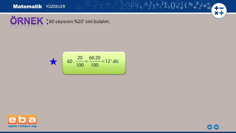 5 Hasan Bey 800 liraya aldığı bilgisayarı % 15 kârla satmıştır.