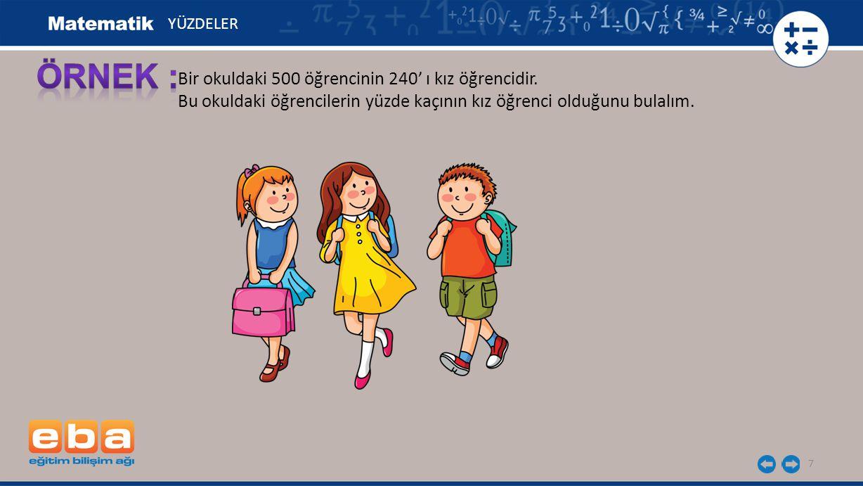 7 Bir okuldaki 500 öğrencinin 240' ı kız öğrencidir. Bu okuldaki öğrencilerin yüzde kaçının kız öğrenci olduğunu bulalım. YÜZDELER