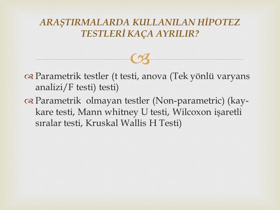   Parametrik testler (t testi, anova (Tek yönlü varyans analizi/F testi) testi)  Parametrik olmayan testler (Non-parametric) (kay- kare testi, Mann whitney U testi, Wilcoxon işaretli sıralar testi, Kruskal Wallis H Testi) ARAŞTIRMALARDA KULLANILAN HİPOTEZ TESTLERİ KAÇA AYRILIR?