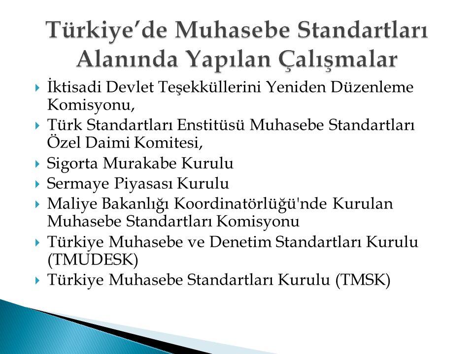  İktisadi Devlet Teşekküllerini Yeniden Düzenleme Komisyonu,  Türk Standartları Enstitüsü Muhasebe Standartları Özel Daimi Komitesi,  Sigorta Murak