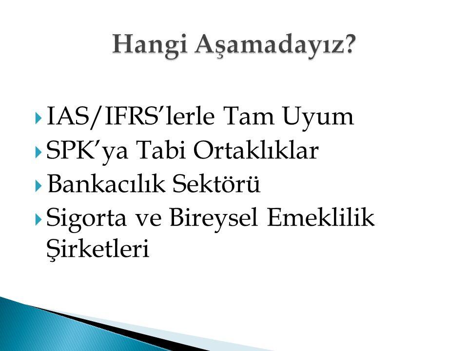  IAS/IFRS'lerle Tam Uyum  SPK'ya Tabi Ortaklıklar  Bankacılık Sektörü  Sigorta ve Bireysel Emeklilik Şirketleri