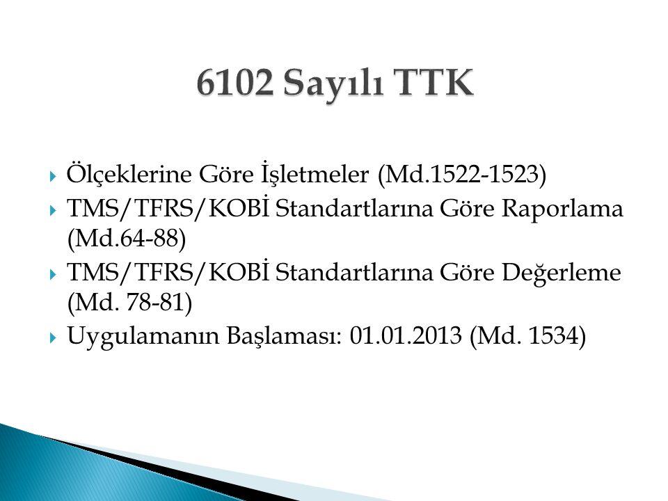  Ölçeklerine Göre İşletmeler (Md.1522-1523)  TMS/TFRS/KOBİ Standartlarına Göre Raporlama (Md.64-88)  TMS/TFRS/KOBİ Standartlarına Göre Değerleme (M
