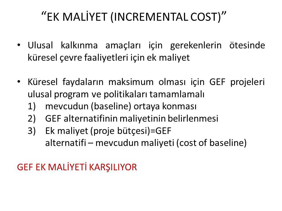 EK MALİYET (INCREMENTAL COST) Ulusal kalkınma amaçları için gerekenlerin ötesinde küresel çevre faaliyetleri için ek maliyet Küresel faydaların maksimum olması için GEF projeleri ulusal program ve politikaları tamamlamalı 1)mevcudun (baseline) ortaya konması 2)GEF alternatifinin maliyetinin belirlenmesi 3)Ek maliyet (proje bütçesi)=GEF alternatifi – mevcudun maliyeti (cost of baseline) GEF EK MALİYETİ KARŞILIYOR