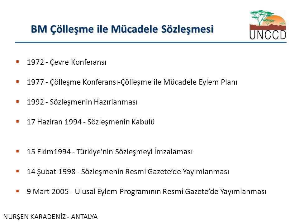 BM Çölleşme ile Mücadele Sözleşmesi  1972 - Çevre Konferansı  1977 - Çölleşme Konferansı-Çölleşme ile Mücadele Eylem Planı  1992 - Sözleşmenin Hazırlanması  17 Haziran 1994 - Sözleşmenin Kabulü  15 Ekim1994 - Türkiye'nin Sözleşmeyi İmzalaması  14 Şubat 1998 - Sözleşmenin Resmi Gazete'de Yayımlanması  9 Mart 2005 - Ulusal Eylem Programının Resmi Gazete'de Yayımlanması NURŞEN KARADENİZ - ANTALYA