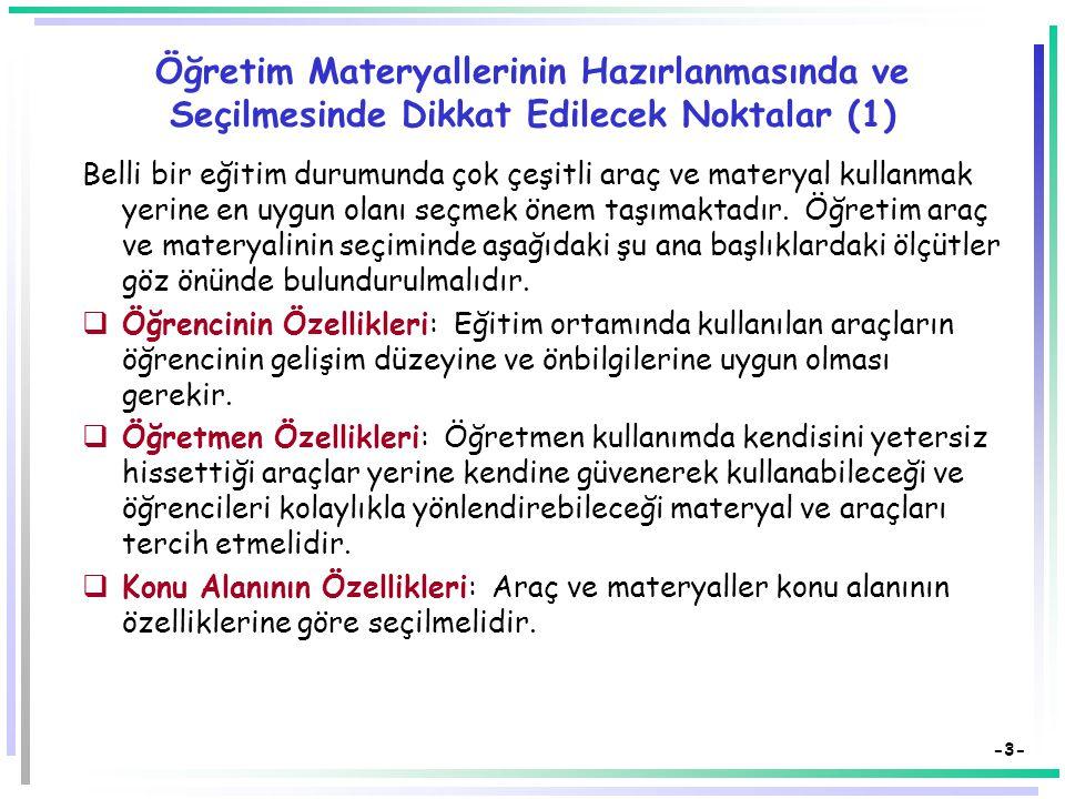 -2- Materyal Seçiminde Uygulanacak Ölçütler (Materyallerin Öğretim Değerini Saptama)  Seçilen materyal öğretim programıyla uyumlu mu?  Materyalin iç