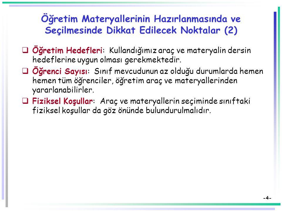 -3- Öğretim Materyallerinin Hazırlanmasında ve Seçilmesinde Dikkat Edilecek Noktalar (1) Belli bir eğitim durumunda çok çeşitli araç ve materyal kulla