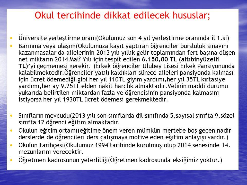4 yıl üst üste ORDU il 1.si : ULUBEY ANADOLU LİSESİ Okulumuz LYS yerleştirme sonuçlarına göre 2010-2011-2012-2013 yılları Ordu il 1.si olmuştur.