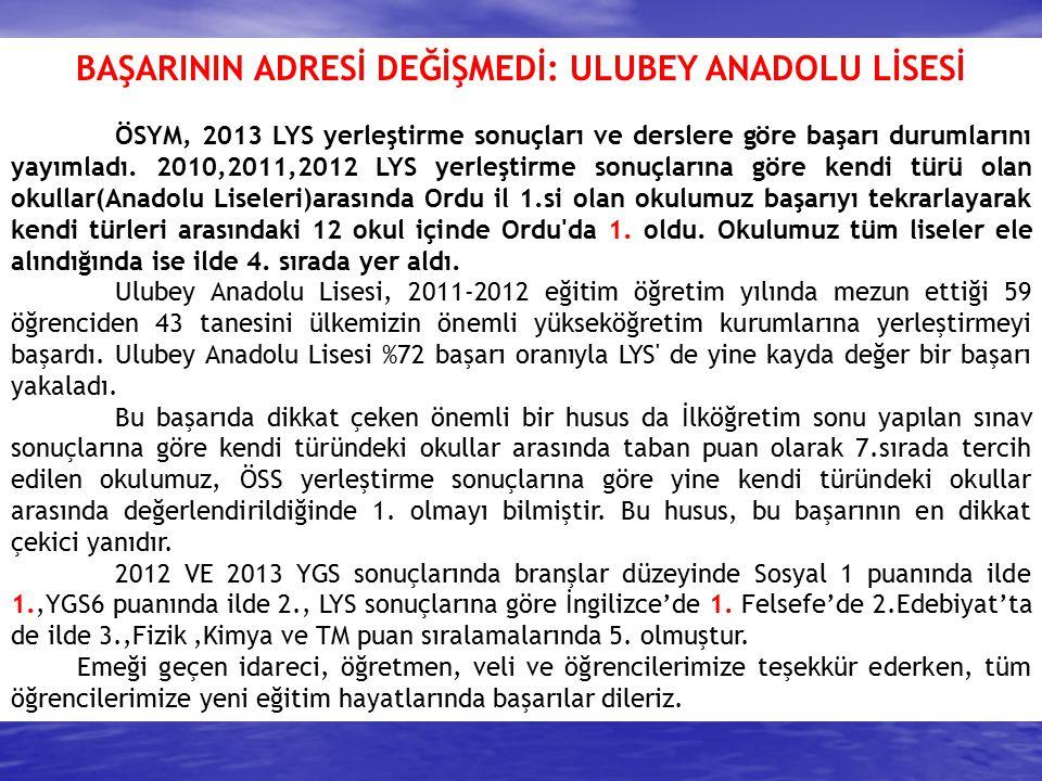ULUBEY ANADOLU YGS LYS BAŞARILARI YILLARYERLEŞTİRME YÜZDESİ 20131.