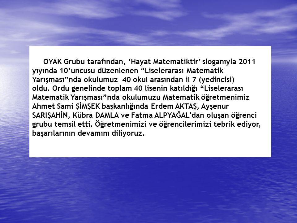 2013 Taban Puan 2010 Taban Puan 1ORDU MERKEZOrdu Anadolu Lisesi398,425421,581 2ÜNYEÜnye Anadolu Lisesi358,668403,401 3ORDU MERKEZOrdu Başöğretmen Anadolu Lisesi378,659395,59 4FATSAFatsa Anadolu Lisesi362,658390,793 5ORDU MERKEZAtatürk Anadolu Lisesi341,749388,996 6PERŞEMBEPerşembe Anadolu Lisesi315,531385,536 7ULUBEY/ORDUUlubey Anadolu Lisesi308,878380,154 8ORDU MERKEZFatih Anadolu Lisesi327,562371,086 9AYBASTIAybastı Anadolu Lisesi263,078364,915 10GÖLKÖYGölköy Anadolu Lisesi256,198359,734 11KUMRUKumru Anadolu Lisesi296,964350,269 12KORGANKorgan Anadolu Lisesi275,370336,113 13GÜLYALITurnasuyu Kız Anadolu Lisesi274,924