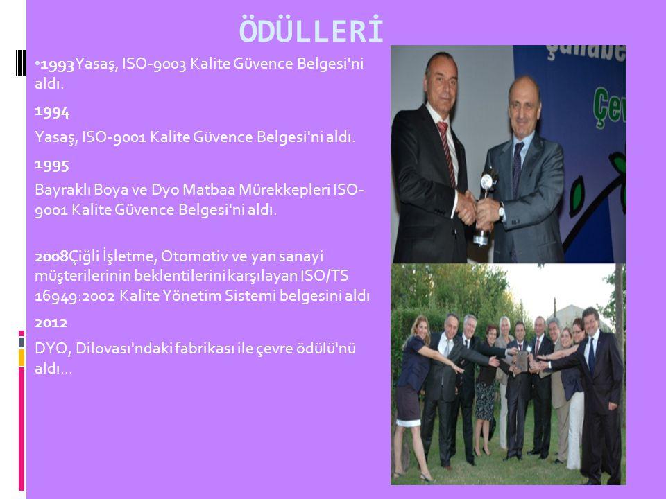 ÖDÜLLERİ 1993Yasaş, ISO-9003 Kalite Güvence Belgesi'ni aldı. 1994 Yasaş, ISO-9001 Kalite Güvence Belgesi'ni aldı. 1995 Bayraklı Boya ve Dyo Matbaa Mür