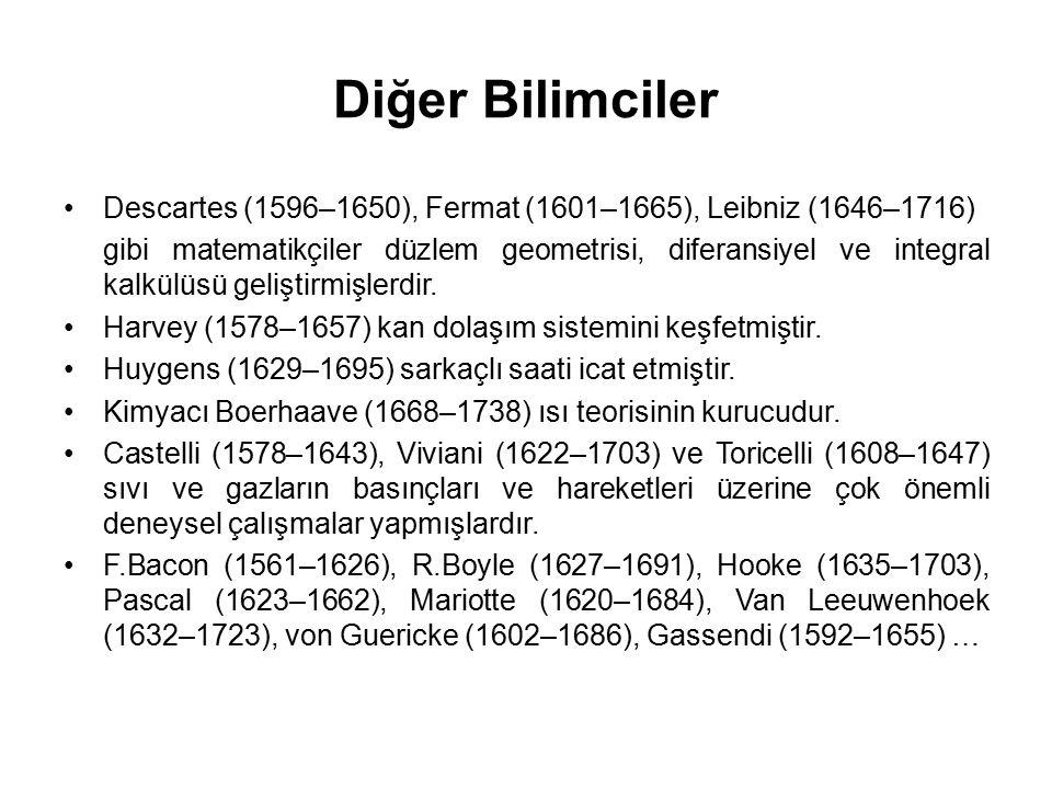 Diğer Bilimciler Descartes (1596–1650), Fermat (1601–1665), Leibniz (1646–1716) gibi matematikçiler düzlem geometrisi, diferansiyel ve integral kalkül