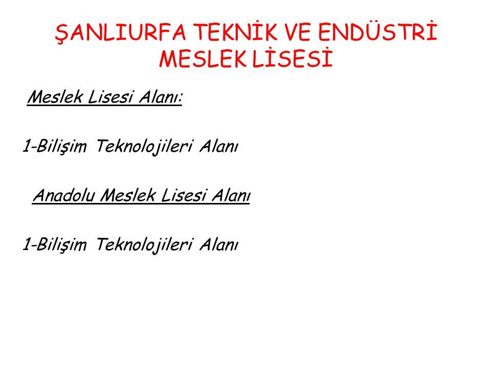 ŞANLIURFA TEKNİK VE ENDÜSTRİ MESLEK LİSESİ Meslek Lisesi Alanı: 1-Bilişim Teknolojileri Alanı Anadolu Meslek Lisesi Alanı 1-Bilişim Teknolojileri Alanı