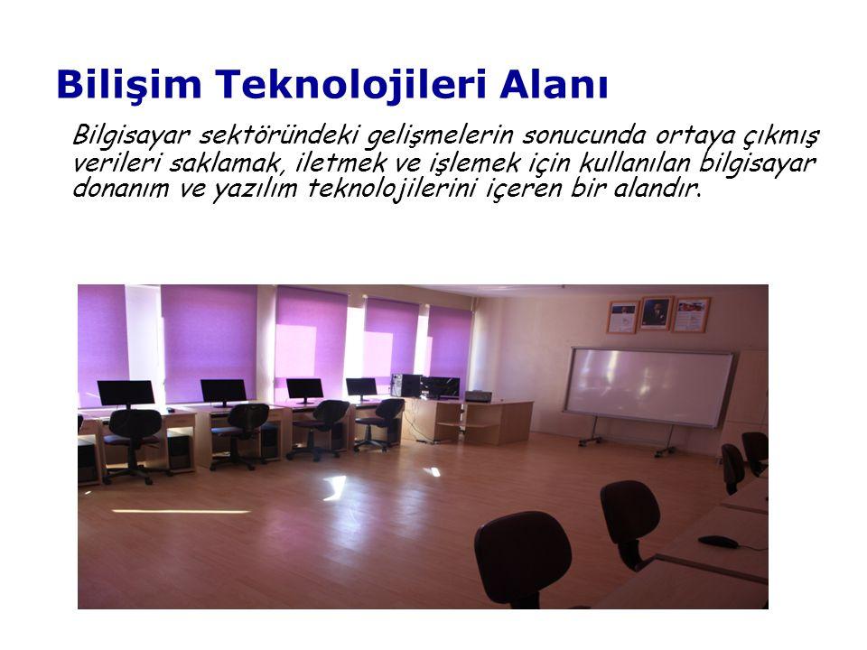 Bilişim Teknolojileri Alanı Bilgisayar sektöründeki gelişmelerin sonucunda ortaya çıkmış verileri saklamak, iletmek ve işlemek için kullanılan bilgisayar donanım ve yazılım teknolojilerini içeren bir alandır.