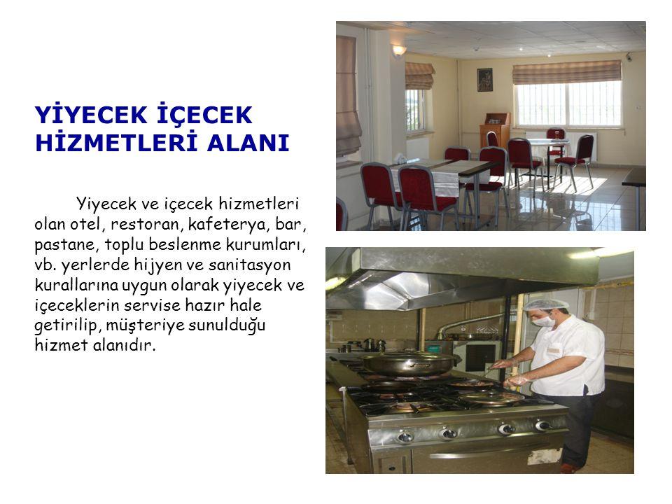 YİYECEK İÇECEK HİZMETLERİ ALANI Yiyecek ve içecek hizmetleri olan otel, restoran, kafeterya, bar, pastane, toplu beslenme kurumları, vb.