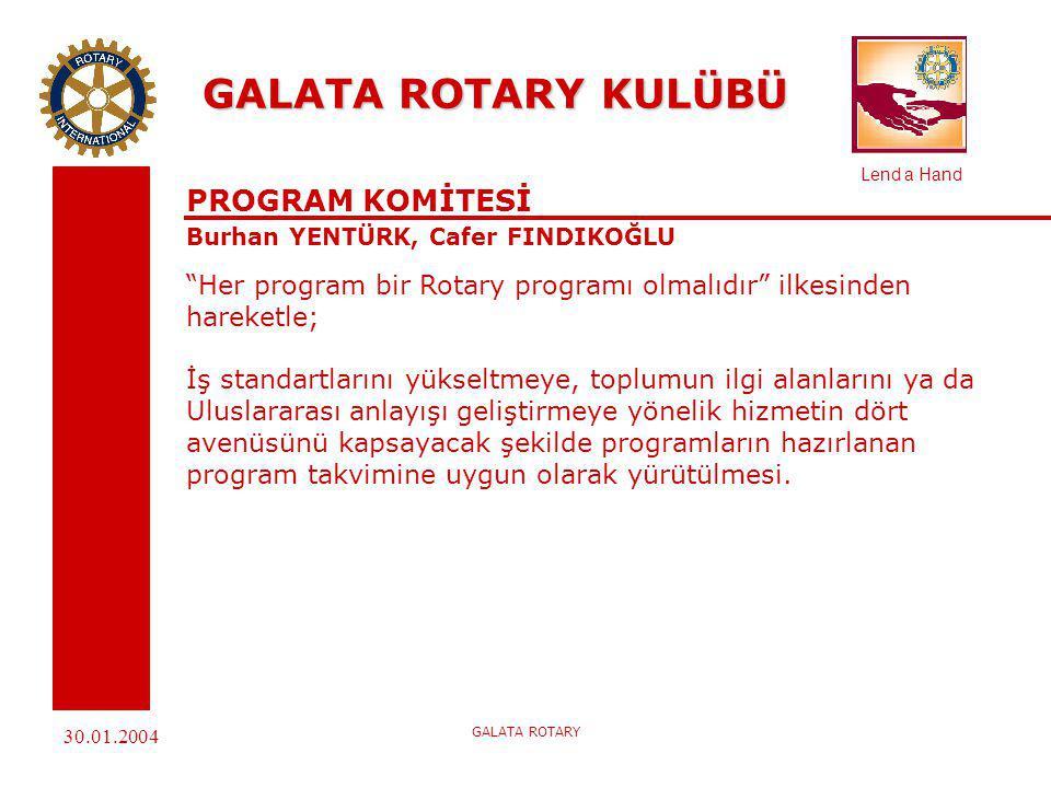 Lend a Hand 30.01.2004 GALATA ROTARY GALATA ROTARY KULÜBÜ HALKLA İLİŞKİLER ve YAYINLAR KOMİTESİ Erdal BERKAY, Nadir TUZLAKOĞLU, Oğuz TINAZ Rotary'i tanıtırken: Rotary'nin ne olduğunu anlatmaya çalışırken, geniş kitlelere- Rotaryen olsun olmasın- ulaşmak gerekir; ve kişisel görüşmelerle Geniş kitlelere ulaşamazsınız diyen Paul Harris'in bu uyarısına Uyarak; Görevimiz; İçimizde, çevremizde ve dünyamızda Rotary'nin gerçek imajı olan HİZMET, DOSTLUK VE YÜKSEK İDEAL i anlatmak, böylelikle ROTARY BİLİNCİNİ yaygınlaştırmak ve bu yolla ROTARY'nin insanlığa hizmet etmek olanaklarını arttırmak ve güçlendirmektir.