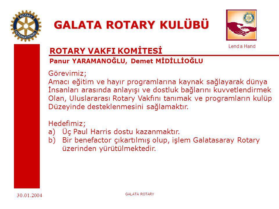 Lend a Hand 30.01.2004 GALATA ROTARY GALATA ROTARY KULÜBÜ POLIO PLUS Panur YARAMANOĞLU, Demet MİDİLLİOĞLU Uluslararası Rotary'nin 2005 yılında Polio'nun dünyadan kaldırılma kampanyasına 1500 Amerikan Doları katkıda bulunulacaktır.