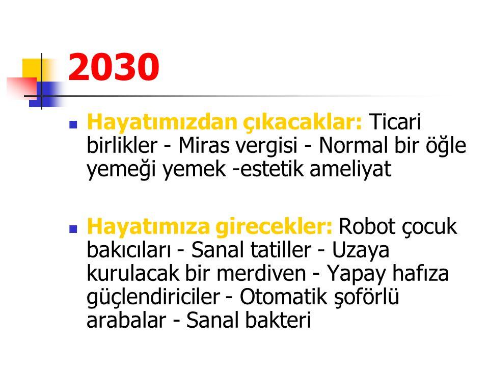 2030 Hayatımızdan çıkacaklar: Ticari birlikler - Miras vergisi - Normal bir öğle yemeği yemek -estetik ameliyat Hayatımıza girecekler: Robot çocuk bak