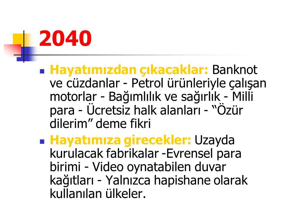 2040 Hayatımızdan çıkacaklar: Banknot ve cüzdanlar - Petrol ürünleriyle çalışan motorlar - Bağımlılık ve sağırlık - Milli para - Ücretsiz halk alanlar