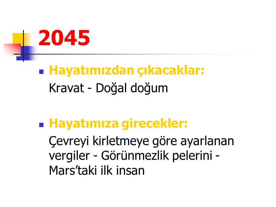 2045 Hayatımızdan çıkacaklar: Kravat - Doğal doğum Hayatımıza girecekler: Çevreyi kirletmeye göre ayarlanan vergiler - Görünmezlik pelerini - Mars'tak
