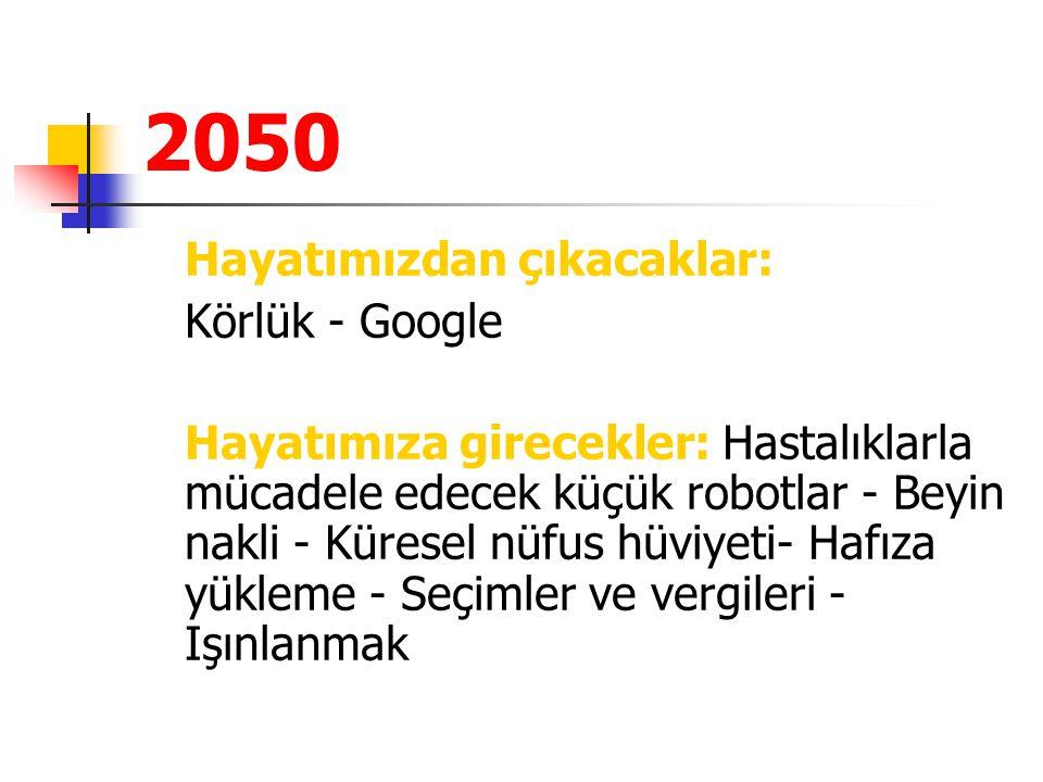 2050 Hayatımızdan çıkacaklar: Körlük - Google Hayatımıza girecekler: Hastalıklarla mücadele edecek küçük robotlar - Beyin nakli - Küresel nüfus hüviye
