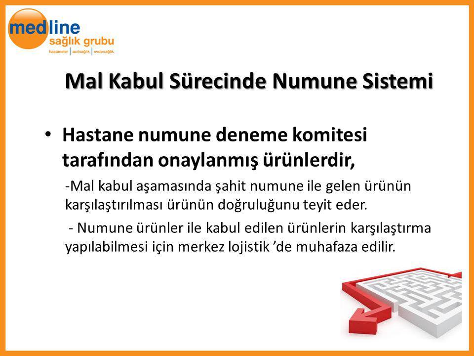 Mal Kabul Sürecinde Numune Sistemi Hastane numune deneme komitesi tarafından onaylanmış ürünlerdir, -Mal kabul aşamasında şahit numune ile gelen ürünü