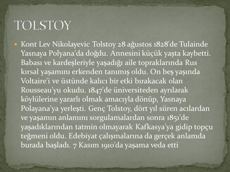 Kont Lev Nikolayevic Tolstoy 28 ağustos 1828 de Tulainde Yasnaya Polyana da doğdu.