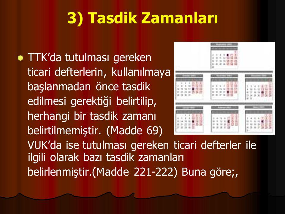 3) Tasdik Zamanları TTK'da tutulması gereken ticari defterlerin, kullanılmaya başlanmadan önce tasdik edilmesi gerektiği belirtilip, herhangi bir tasd